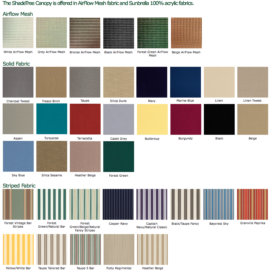 ShadeTree Canopy Color Options