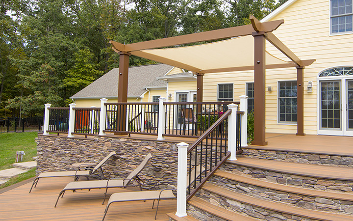 Trex Pergola with Tension Canopy in Ivory