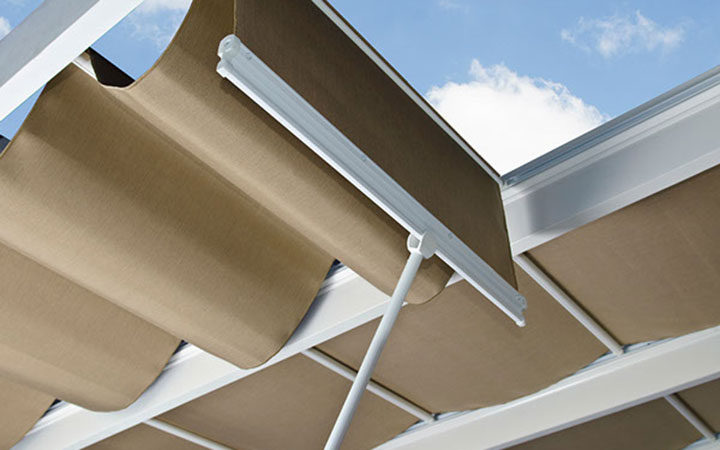 Trex Pergola + Shadetree Canopy Close Up - Low Maintenance Engineered Pergola Kits By Trex