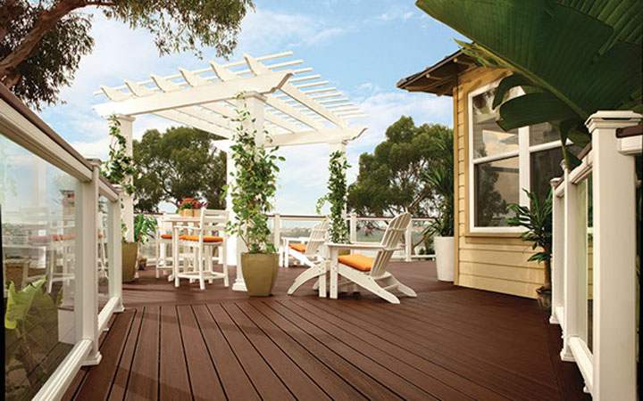 White Trex Pergola Kit on Trex Deck