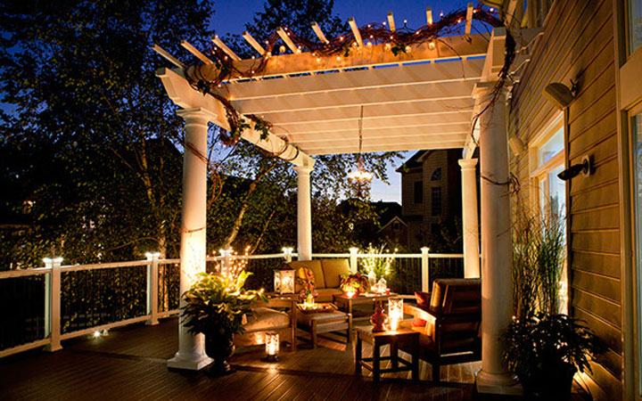 Pergola at night with lights - Trex Pergola