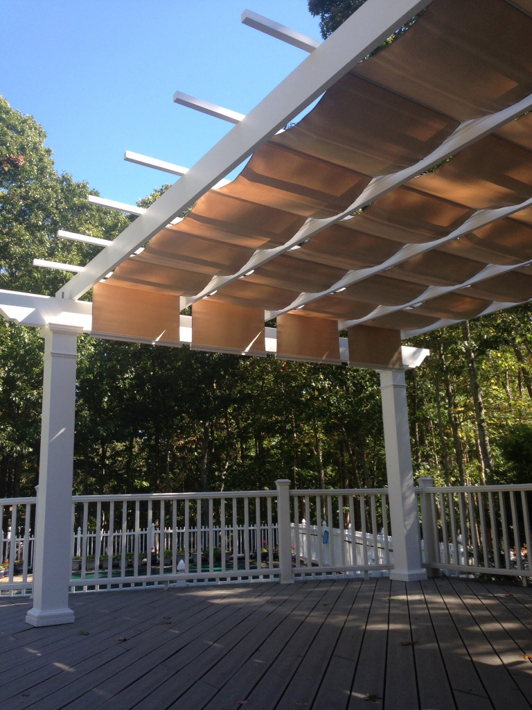 Trex Pergola Kit with ShadeTree Retractable Canopy on Composite Deck - Trex Pergola Kit With Canopy - Long Island New York