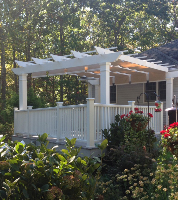 Trex Pergola with ShadeTree Retractable Canopy in Beige Fabric