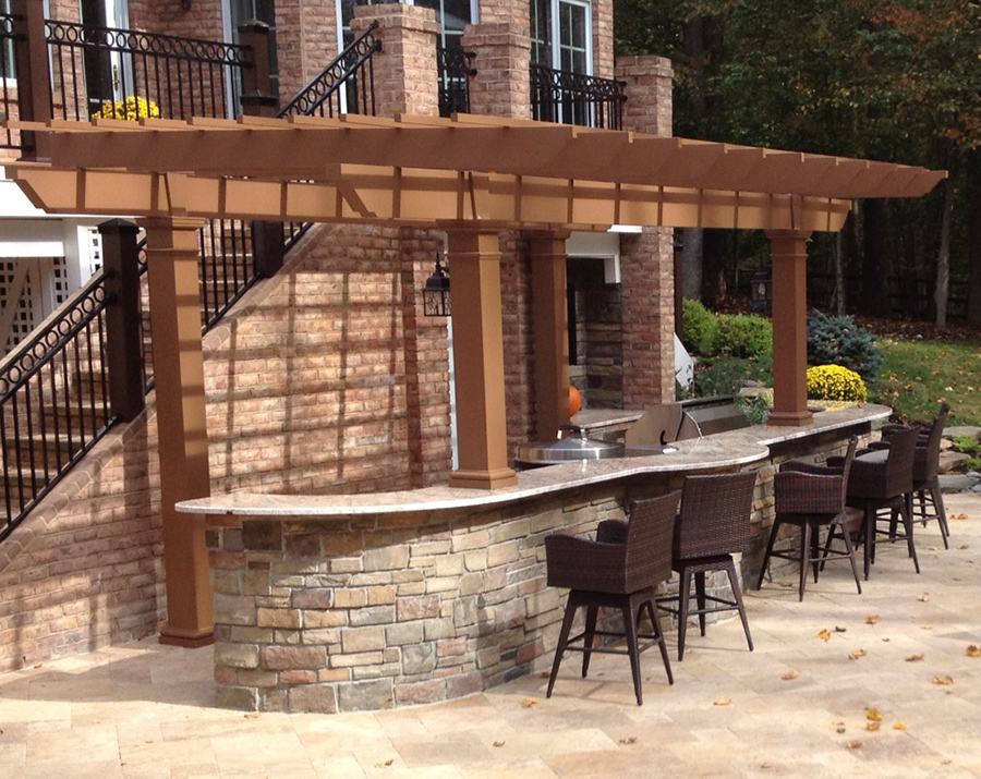 Painted Trex Pergola Kit Over Outdoor Kitchen - Maryland