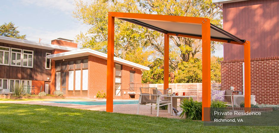 Trex Pergola Air in Residential Setting - Low Maintenance Engineered Pergola Kits By Trex