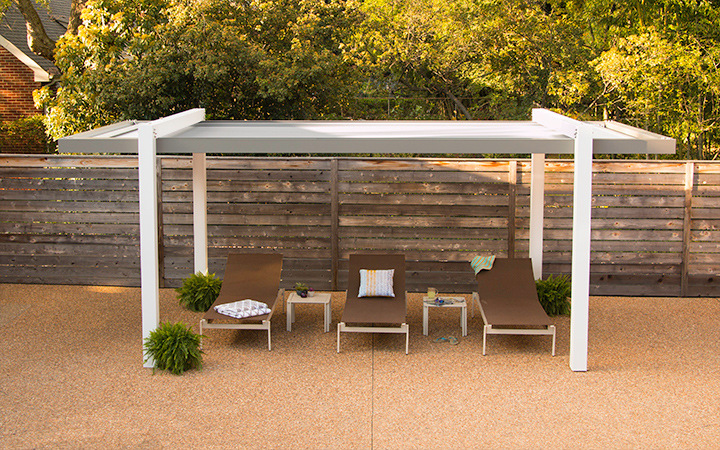 Trex Pergola Balance with Closed Canopy on Poolside Pebble Deck