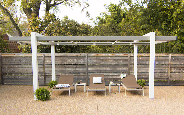 Trex Pergola Balance with Open ShadeFlex Motorized Retractable Canopy in White