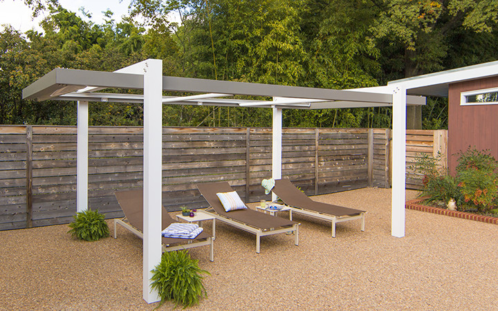 Trex Pergola Balance with Open ShadeFlex Motorized Canopy in White
