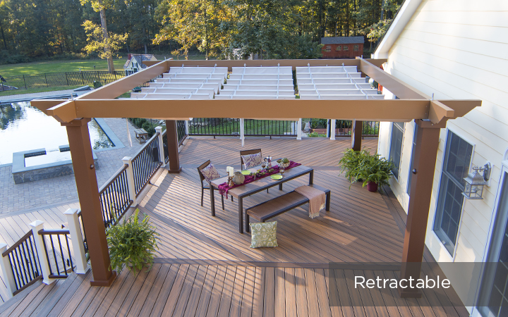 Trex Pergola Vision with Manually Retractable Canopy
