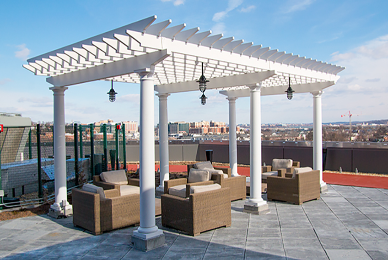 Commercial Rooftop Pergola with Outdoor Seating Area