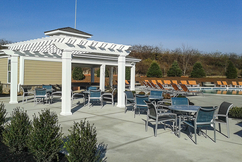 Low Maintenance Trex Pergola Kit Provides Shade to Community Pool - Low Maintenance Pergolas & Pergola Kits In Pennsylvania