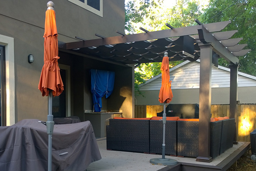 Attached Trex Pergola With Airflow Mesh Shadetree Canopies