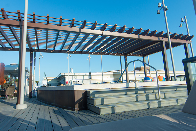 Rooftop Trex Pergola Shade Structure on Homewood Suites Pool Deck