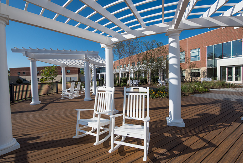 Low Maintenance Pergolas at Virginia Hospital - cPVC Pergola - Trex Pergola