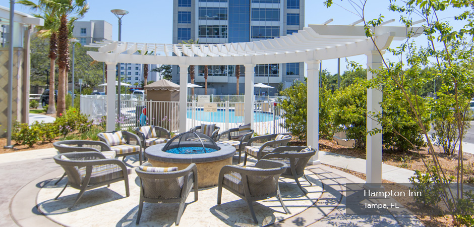 cPVC Pergola and Outdoor Living Area Hampton Inn Tampa Florida - Trex Pergola