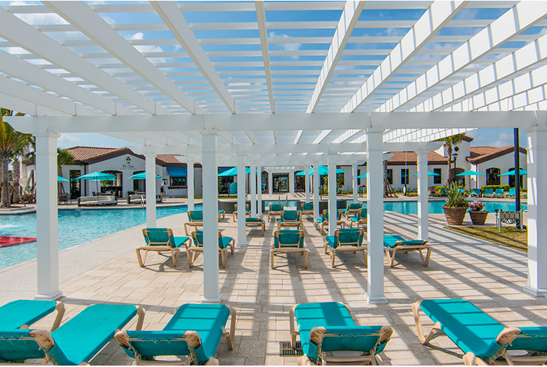 Pool at Windsor at Westside with Trex Pergola in Florida