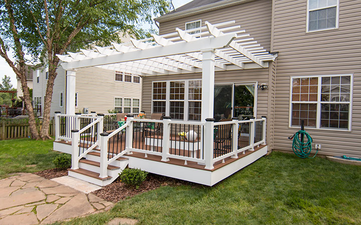 Attached CPVC Pergola On A Deck   Trex Pergola