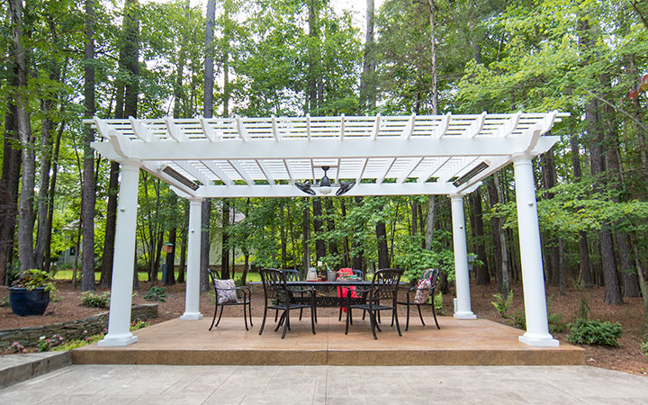 Freestanding Pergola on Patio - Trex Pergola - Infratech Heaters - Outdoor Living
