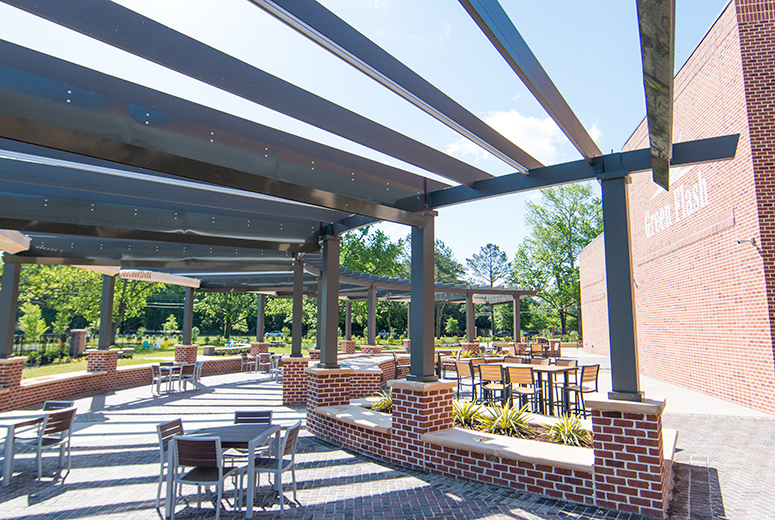Custom Trex Pergola Details at Green Flash Brewing Virginia Beach