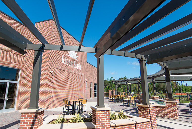 Custom Trex Pergola Details at Green Flash Brewing