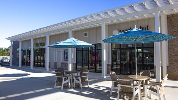 Double Trex Pergola Kit Over Shopping Center