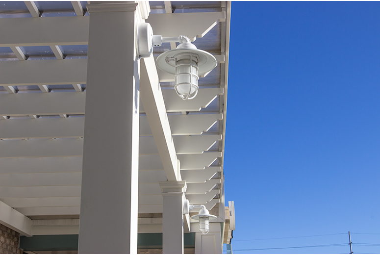 Tanger Outlet Rafters ShadeRight Fixed Canopy and Integrated Electrical for Lighting