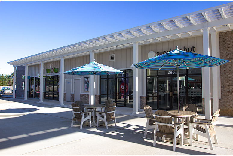 Double Trex Pergola Kit Over Shopping Center - Low Maintenance Engineered Pergola Kits By Trex