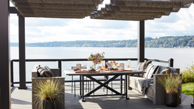 Trex Pergola Kit with Trex Railing, Trex Decking and Trex Furniture on HGTV Dream Home 2018 Lakefront Home Sweepstakes