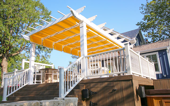 Freestanding Trex Pergola with Shadetree Canopy Canada