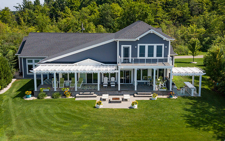 Residential trex Pergola with Shadetree Canopy Michigan