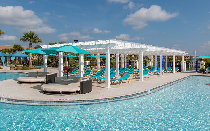 Trex Pergola Poolside Community Pool in Orlando