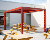 Trex Pergola Element Aluminum Shade Structure at Local Brewery