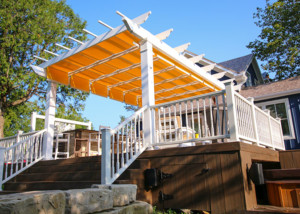 Freestanding Trex Pergola with Shade Tree Canopy