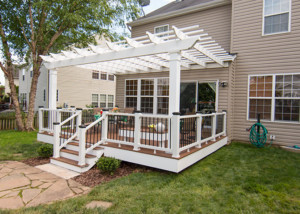 Trex Pergola Attached on Residential Deck with Motorized Retractable canopy